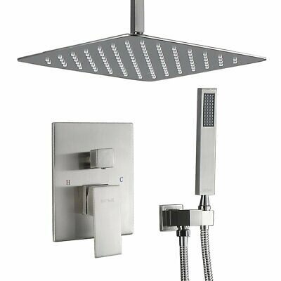 16 inch Rain Shower Faucet Massage System Mixer Set Hand Shower Brushed Nickel
