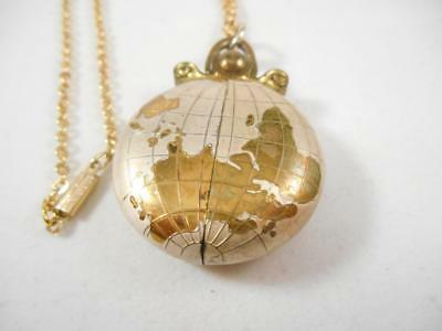 VINTAGE MEDANA ENAMEL GLOBE WORLD SWISS GERMAN WIND UP WATCH PENDANT NECKLACE 9f