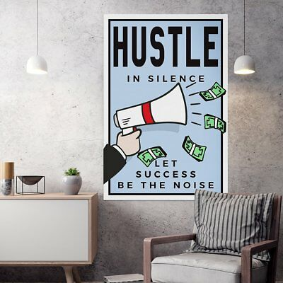 "Alec Monopoly Oil Painting on Canvas,""Hustle In Silence""  24x36inch"