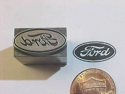 FORD Emblem OVAL Logo Script Model A&T OLD! Car Co 1903 Letterpress Printers Cut