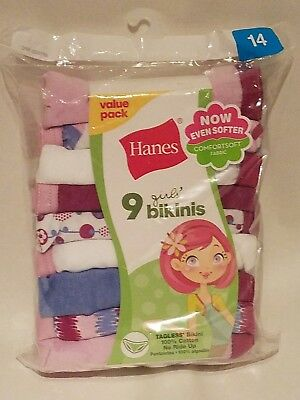 1b6031e2db10 NWT Hanes Girls' Assorted No Ride Up Cotton Bikinis Panties 9 Pack Size 14