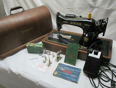 Vintage SINGER 15-91 Sewing Machine LEATHER  AJ755261  Case Extras SERVICED ~VGC