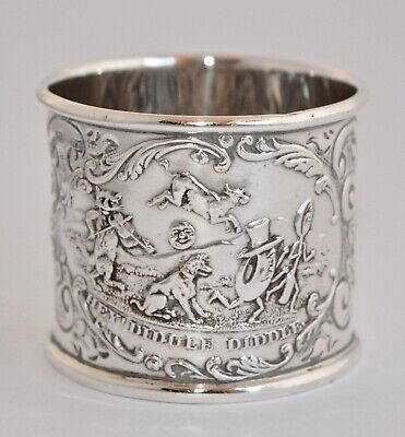 1910 Solid Sterling Silver Napkin Ring - Repousse HEY DIDDLE DIDDLE Scene - 29g