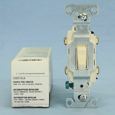 Cooper Light Almond DOUBLE POLE Commercial Toggle Wall Light Switch 15A CSB215LA