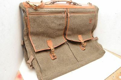 Hartmann Hanging Garment Tweed Leather Carry On Luggage Bag bi fold non  rolling 50fead3605f24