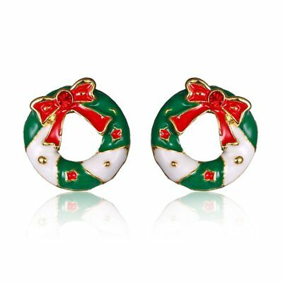 Fashion Christmas Wreath Stud Earrings Ear Womens Jewelry Family Party Gift New
