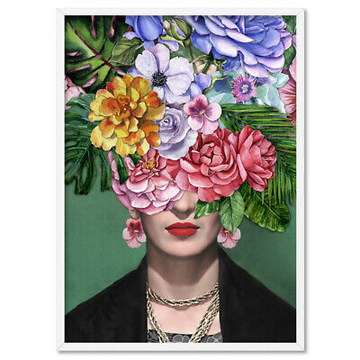 Frida Kahlo Watercolour Floral Print. Iconic Fashion. Poster or Canvas | HPS-19
