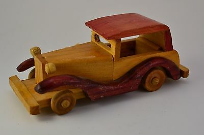 VINTAGE WOODEN HANDCRAFTED ANTIQUE CLASSICAL CAR TOY Handmade decoration