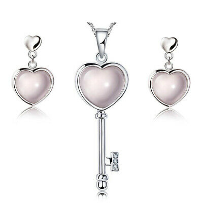 Ladies 925 Sterling Silver Rose Quartz Heart  Key Pendant Necklace Earrings Gift