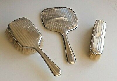 Art Deco Silver Dressing Table Mirror and Brushes. Birmingham. 1923