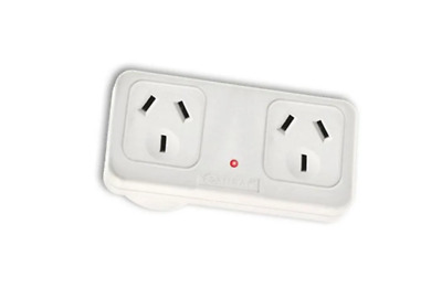 Sansai Horizontal Right Side Powerpoint Double Surge Protector Adaptor/Outlet