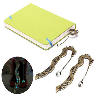 2X retro glow in the dark leaf feaher book mark with dragon luminous bookmark、