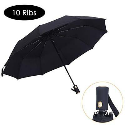 Automatic Folding Travel Umbrella Compact Strong 10 Ribs Windproof Mens Ladies