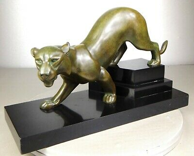 1920/1930 I Rochard Gr Statue Sculpture Art Deco Animalier Panthere Felin Lionne