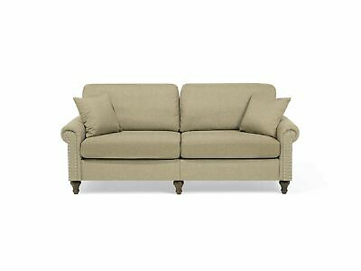 Modern Fabric 3 Seater Sofa Light Brown Polyester Solid Wood Throw Pillows Otra