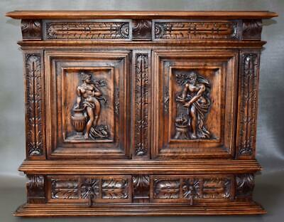 Architectural 19th.C French Renaissance Carved Wood Furniture Cabinet Front Door