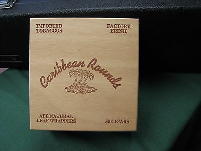 Vintage Hand Made Old Wooden Box  Caribbean Rounds Cigar Box NICE !