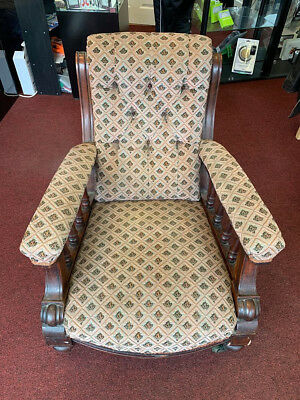 Antique Victorian  Button Backed Open Arm  Library Armchair