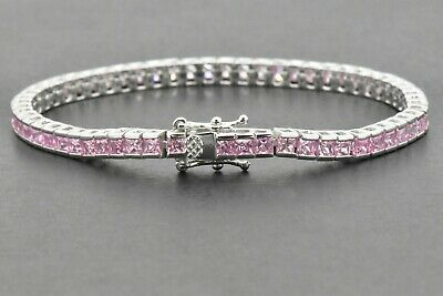 10 Ct Princess Cut Pink Sapphire Tennis Bracelet In Solid 14K White Gold Finish