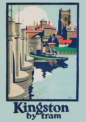 VINTAGE POSTER Kingston Upon Thames Retro Tram Travel Ad Wall ART PRINT A3 A4