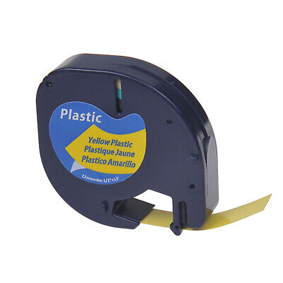 US STOCK 1PK Black on Yellow Plastic Label Tape for DYMO Letra Tag LT 91332 12mm