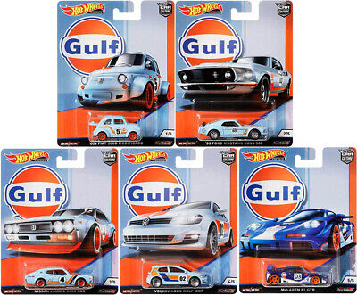Gulf Series Car Culture Set 5 Modelle Fiat Ford VW Nissan 1:64 Hot Wheels FPY86