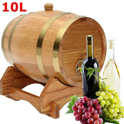 10L Wood Oak Timber Barrel Keg Wine Spirits Whisky Port French Toasted with Stan