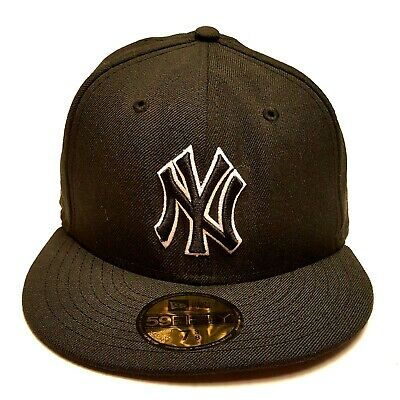 998385a439ca5 NEW YORK YANKEES New Era 59Fifty Fitted Black Gray Baseball Cap Hat ...
