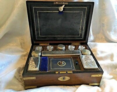 Early Victorian Brass Bound Mahogany Vanity Jewellery Box With Contents And Key
