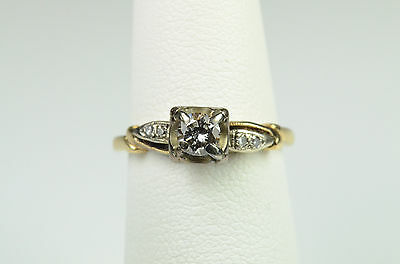 14K Yellow White Gold Diamond Vintage Engagement Solitaire Ring Band  0.40 Carat