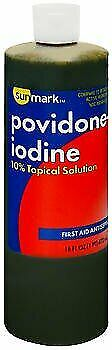 Povidone Iodine 10% Topical Solution First Aid Antiseptic Sunmark 16 oz, 12 Pack