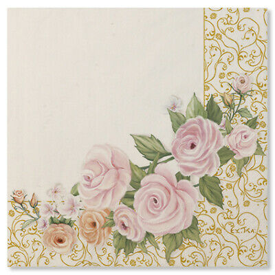 20 TOVAGLIOLI ROSE FLOWERS - in carta - WEDDING - addobbo decoro tavola