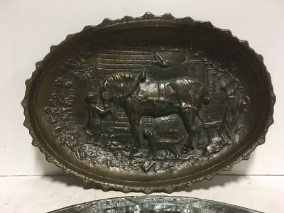 LG. VTG. Antique Brass Bronze Victorian, Art Nouveau Card Coin Pin Ash Tray