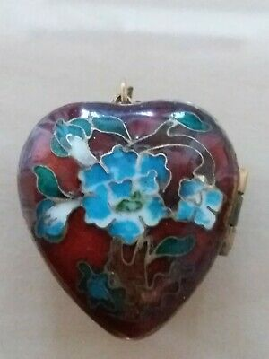 Vintage Antique Chinese Cloisonne Enamel Painted Heart Pendant Floral Locket