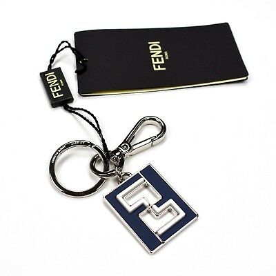 79f3d13da4390 NWT  370 FENDI Navy Leather Silver Metal FF Monogram Logo Keychain Men  AUTHENTIC