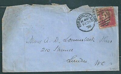 1875 Qv Birmingham  Cover With Penny Red Stamp Plate 189   See Scans