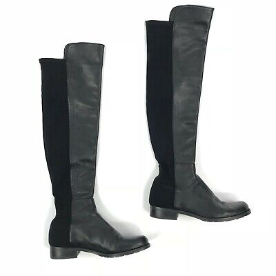 a164580b5b8 Stuart Weitzman Womens 5050 Boots 6 Black Nappa Leather OTK Knee High  695