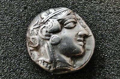 Ancient  Greek Athens Solid Silver Tetradrachm Coin Old Collection