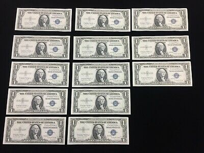 Series 1936 G $1 Silver Certificates-Consecutive Lot of 13 Notes