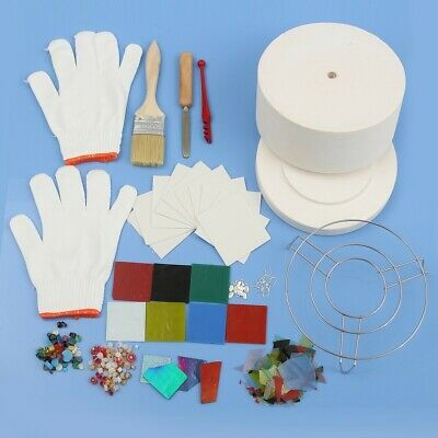 14pcs Ceramic Fibre Stained Glass Fusing Supplies Microwave Kiln Kit DIY Jewelry