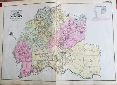 1917 Newton Massachusetts Boston College Middlesex Co Index Page Atlas Map