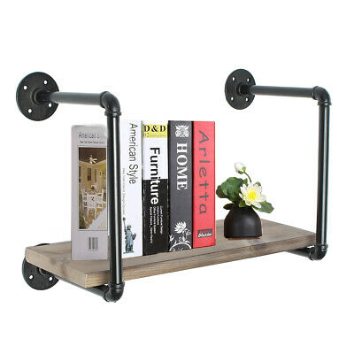 Rustic Wood Pipe Frame Floating Shelf Bracket Rack Holder Wall Mounted Storage