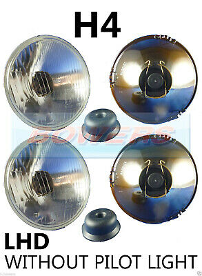 "Pair Of 5.75"" 5 3/4"" Lhd Classic Car Headlamps Headlights H4 Without Pilot Light"
