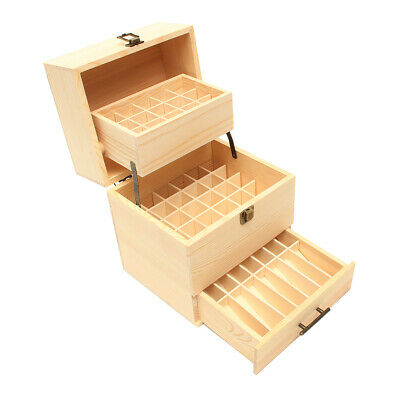 59 Slots Essential Oil Storage Wood Box Case Aromatherapy Organizer 3 Tires
