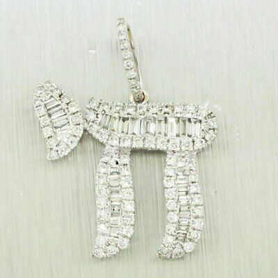 Vintage Estate 14k Solid White Gold 1.00ctw~ Diamond Chai Charm