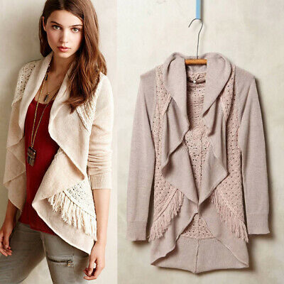 c347376c27ed Anthropologie $128 Knitted & Knotted Fringed Circle Cardigan in Blush Pink