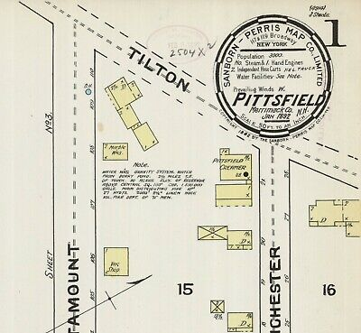 Pittsfield, New Hampshire~Sanborn Map© sheets~ with 16 maps~1892 to 1912~16 maps