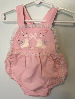 Vintage Baby Girl Sun Suit Romper Lace Trim Booties Appliqué 3-6 months