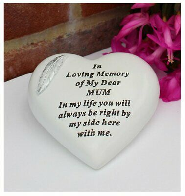 Free standing Heart shaped Mum memorial with inspirational verse