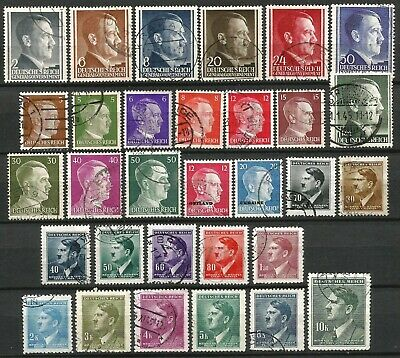 Germany Third Reich Bohemia General Gvt 1941-1944 used Hitler Definitives